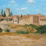 Cuadro al oleo de un paisaje de Pedraza, Segovia
