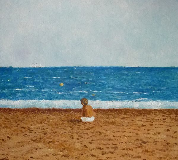 Cuadro de un niño en una playa sentado