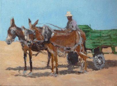 Las mulas y el carro | Cuadro a oleo