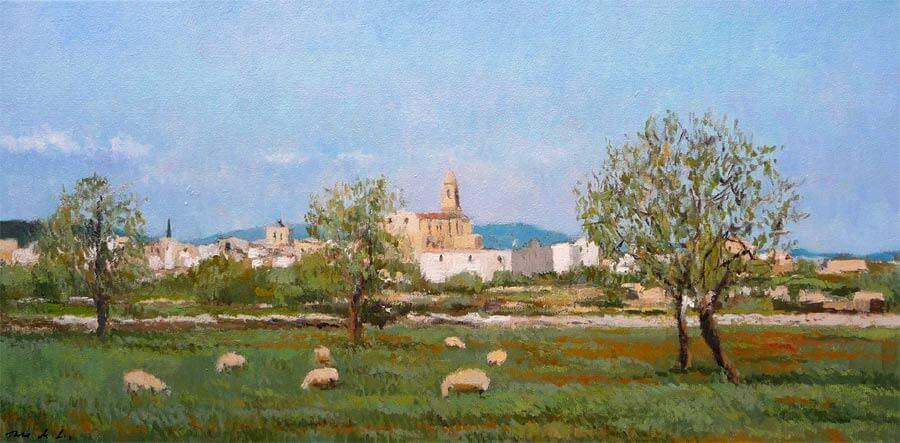 Paisaje de un cuadro al óleo de Santanyi