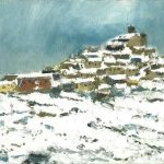 Oleo de un paisaje nevado de Ujué