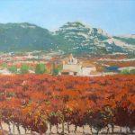 Cuadro al óleo de un paisaje de viñedos