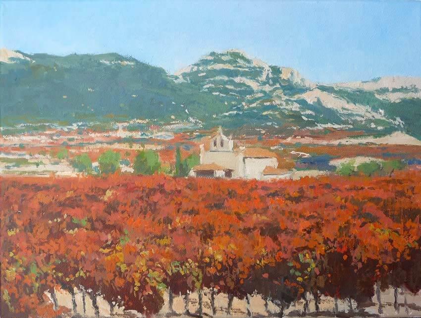 Cuadro al óleo de un paisaje de viñedos en la Rioja