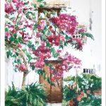 Acuarela de un patio andalúz
