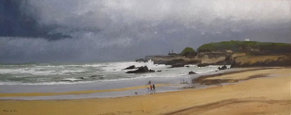 Cuadro de una marina de la playa del Camello en Santander