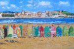 Cuadro al oleo de la playa de San Lorenzo en Gijon