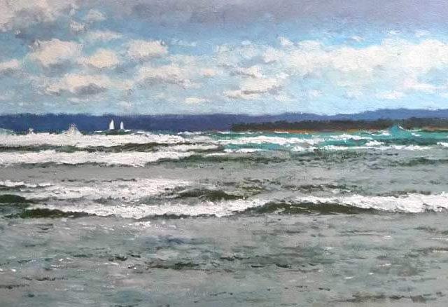 Marina al óleo de la playa de los Molinucos