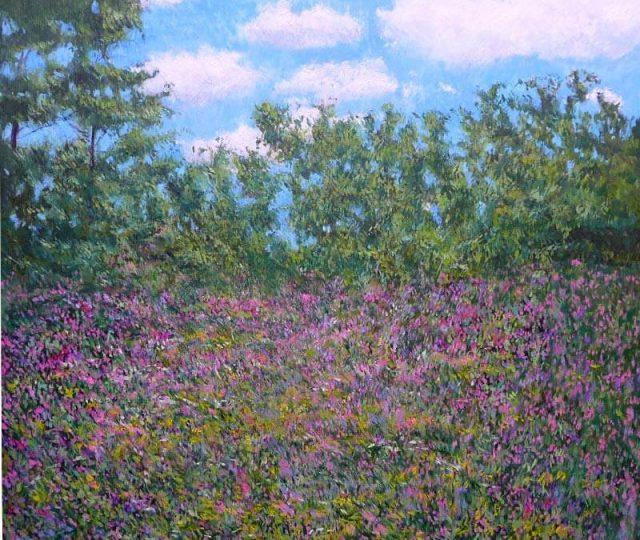 Paisaje de flores en primavera