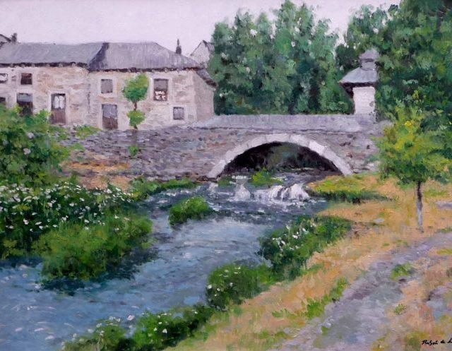 Puente en un río de los alrededores de Sanabria en Zamora