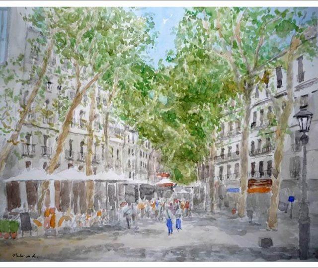 Cuadro de la Rambla de Barcelona