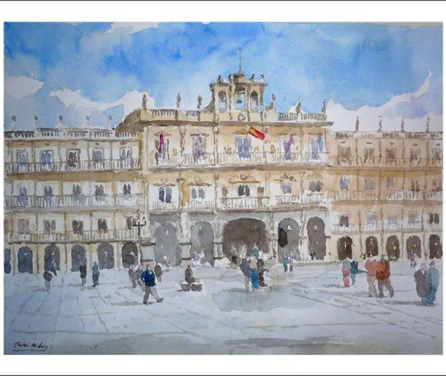 Acuarela de la Plaza Mayor de Salamanca