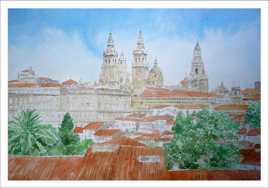 Cuadro en acuarela de un paisaje de Santiago de Compostela