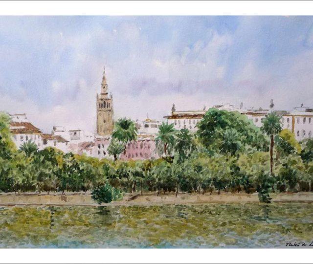 Cuadro en acuarela de Sevilla desde el barrio de Triana.