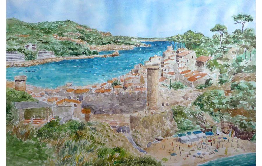 Acuarela de un paisaje de Tossa de Mar, Girona.