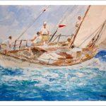 Cuadro de un velero en una regata