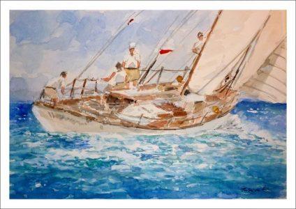 Velero en una regata en alta mar