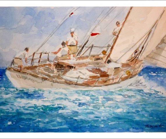 Velero cruzando el mar en una regata