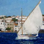 Velero al oleo navegando en Cadaqués