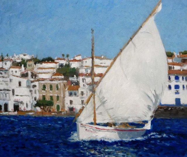 Cuadro al oleo de un velero en Cadaqués