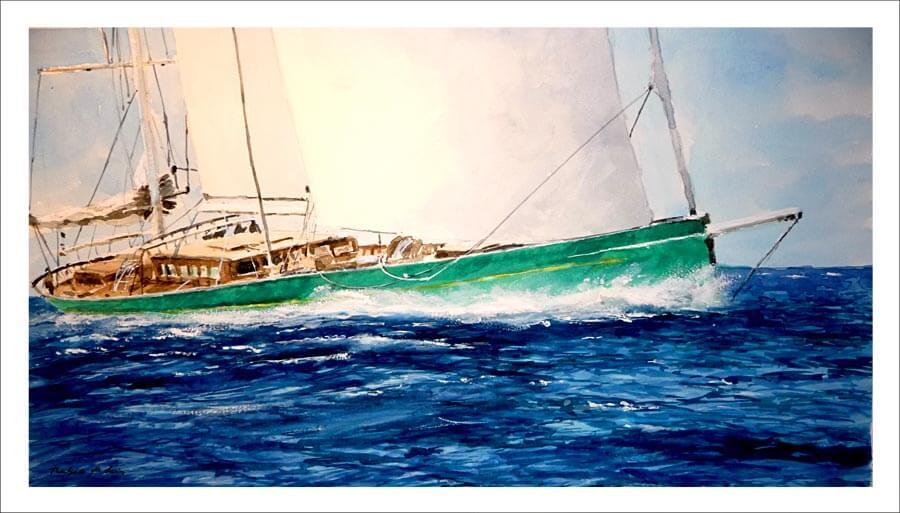 Cuadro de un velero navegando en alta mar