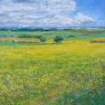 Oleo de un paisaje de flores amarillas