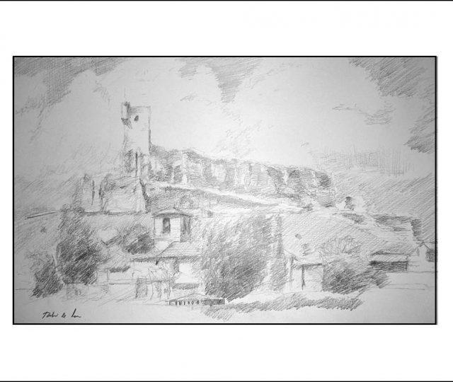 Dibujo de un paisaje de Atienza