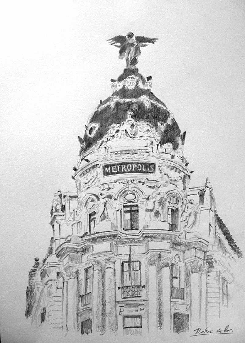 Dibujo de la cúpula del edificio de Metrópolis en la Gran Vía