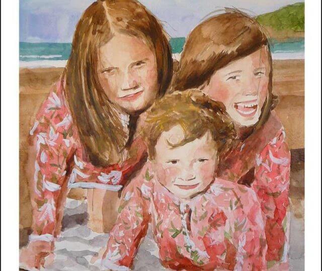 Acuarela de unas figuras en la playa de Berria
