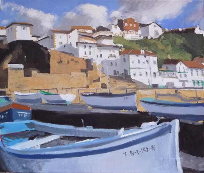 Marina al óleo del puerto viejo de Algorta, Getxo.