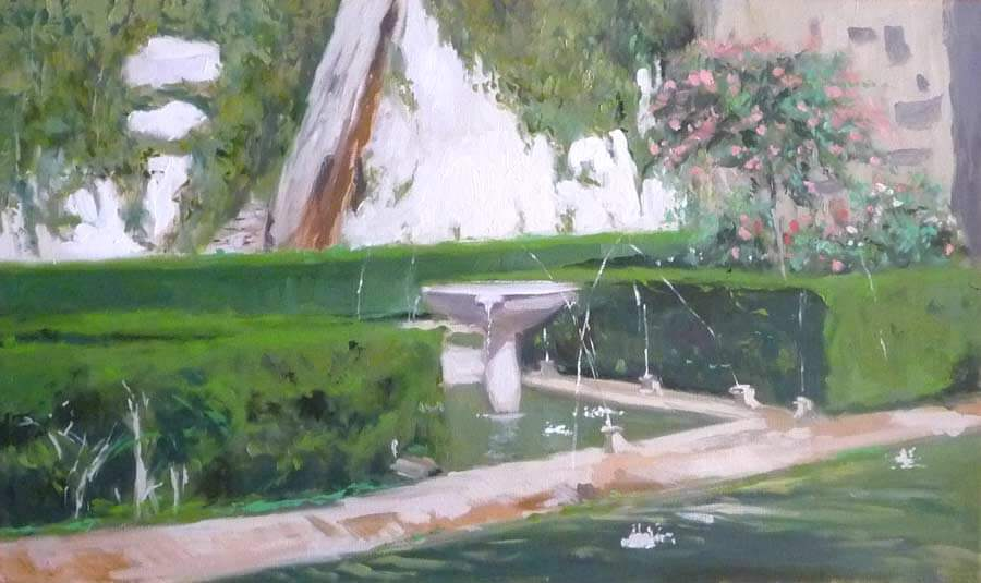 Cuadro al óleo de la fuente de Nasrid