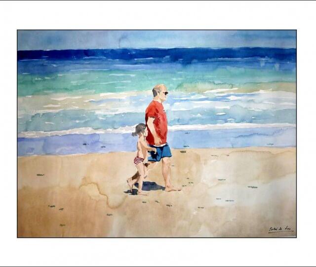Marina en acuarela de dos figuras en la playa