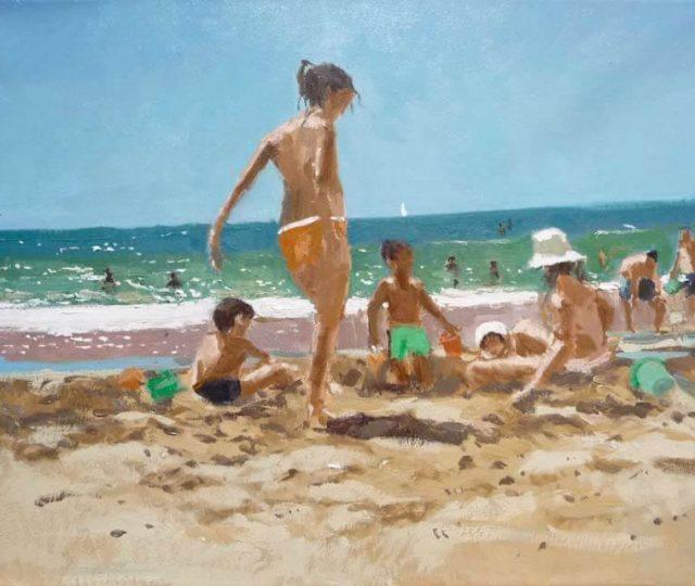 Marina, oleo sobre liezno, Niños jugando en la playa