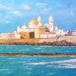 Cuadro al óleo de Cádiz desde la playa