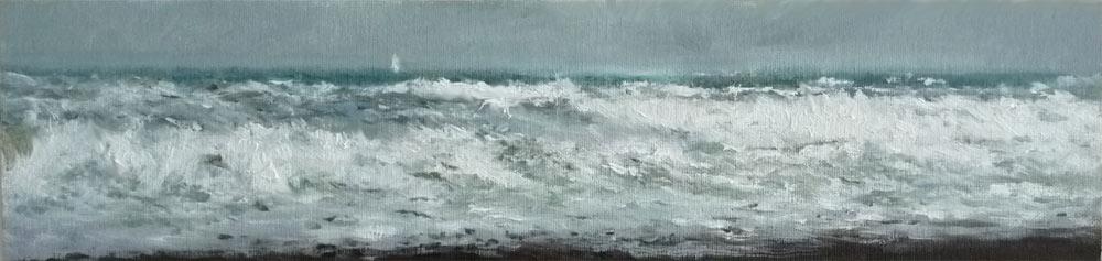 Marina al oleo con el mar embravecido