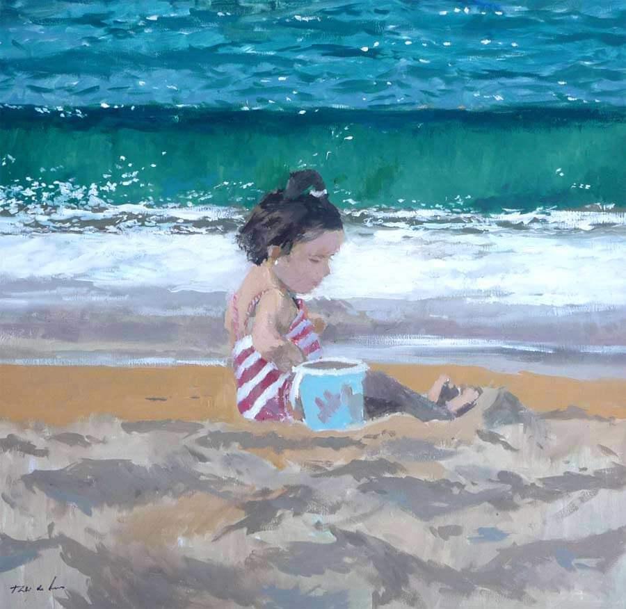 Cuadro al óleo de una niña en la playa
