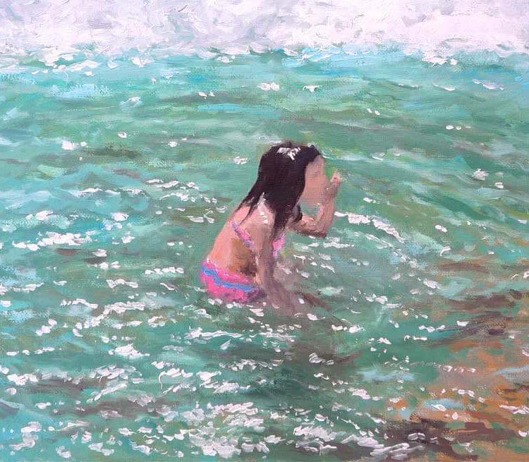 Cuadro de una niña en la playa jugando