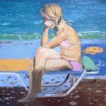 Cuadro al óleo de una niña enfadada en una playa