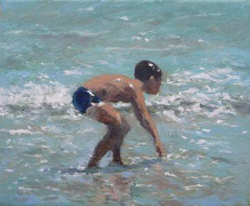 Niño esperando a la ola. Cuadro al oleo