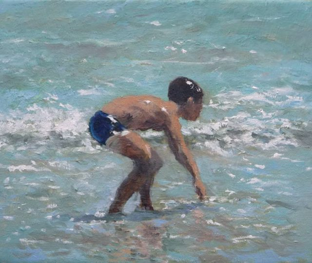 Cuadro al oleo de un niño en la playa