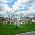 Oleo de unos almendros en primavera