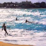Oleo de un atardecer en la playa de Somo
