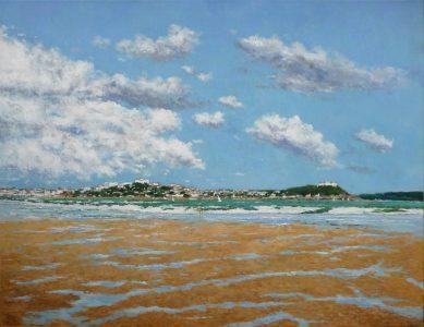 Santander desde la playa de Somo | Cuadro al oleo