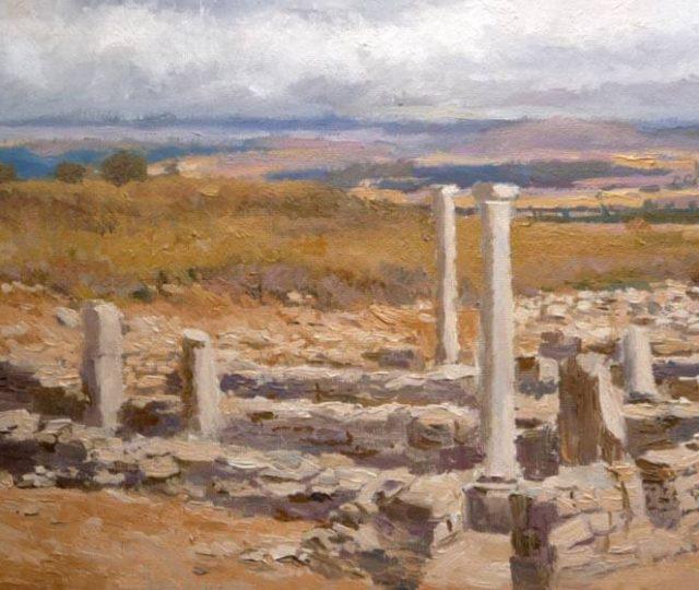 Paisaje al óleo de una vista de un paisaje desde las ruinas de Numancia