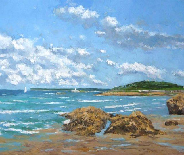 Oleo de la playa del Sardinero en Santander