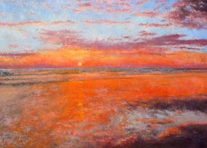 Cuadro al oleo de un atardecer en una playa de Huelva