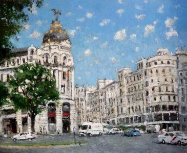 Cuadro al oleo de la Gran Vía de Madrid