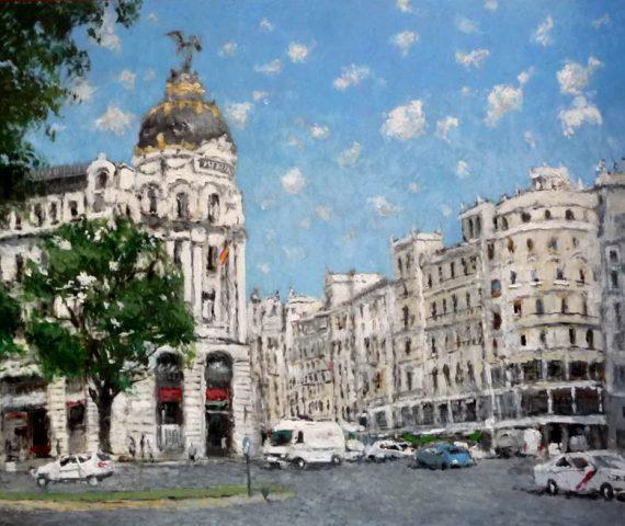 Gran Vía, Madrid, cuadro al oleo