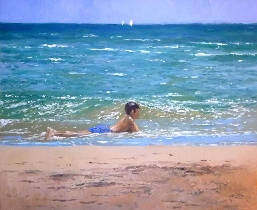 Pintura de un niño en la playa de Valencia