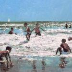 Cuadro al óleo de unos niños en la playa jugando