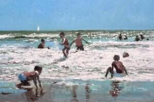 Cuadro al óleo de unis niños en la playa jugando